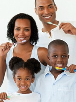Family Brushing Their Teeth in Raleigh, NC